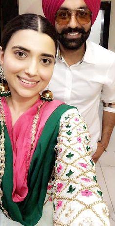 Dress Indian Style, Indian Dresses, Indian Wear, Indian Outfits, Designer Punjabi Suits, Indian Designer Wear, Nimrat Khaira Suits, Punjabi Actress, Embroidery Suits Design