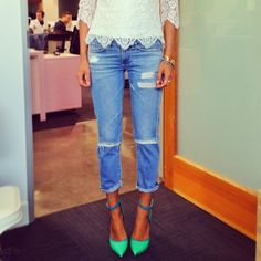Love the lace hem with the ripper jeans and green shoes. Kapow.