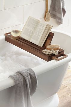 Great wooden stand for bathtub. Now you can ready without getting your book wet.