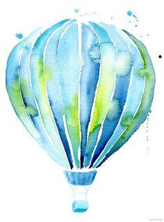 Hot air balloon watercolor art