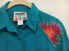 Wrangler // Western Style // Turquoise // button up // Size S/M by theartofjello on Etsy https://www.etsy.com/listing/467442427/wrangler-western-style-turquoise-button