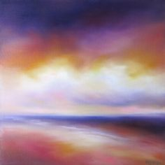 Beach painting, modern, seascape, beach art, ocean painting, cloud art, purple, orange, square canvas by NancyHughesMiller on Etsy https://www.etsy.com/listing/232714845/beach-painting-modern-seascape-beach-art