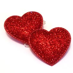 Glitter Heart Barrettes for valentines Glitter Hearts, Red Glitter, Red Hearts, Valentine Day Love, Valentines, Hair Tinsel, Vermillion Red, Colors Of Fire, Barrettes