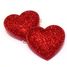 glitter red | Glitter Heart Barrettes [red]