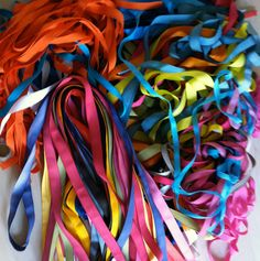 """Dyeing ribbons for """"It's complicated"""", Studio Louise Campbell"""