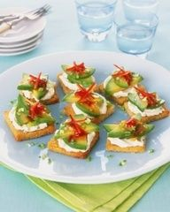 For your tapas party, make crostini with avocado and cream cheese. Top it off with a colorful dab of salsa or green chili.More party recipes:7 Easy, Elegant Crowd-Pleasing AppetizersSuperbowl Party And Potluck Recipes And IdeasBruschetta, A Fun Appetizer And Enough Recipes For A Tapas Party!.