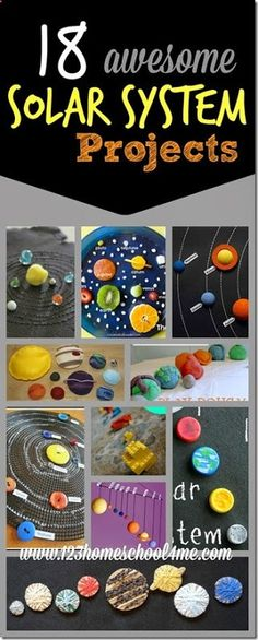 18 solar system projects for kids - These are such creative science projects for kids of all ages to explore planets, space, the sun and more!http://www.123homeschool4me.com/search/label/3rd%20Grade