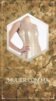 Vestido largo, color dorado con aplicaciones. $2,749