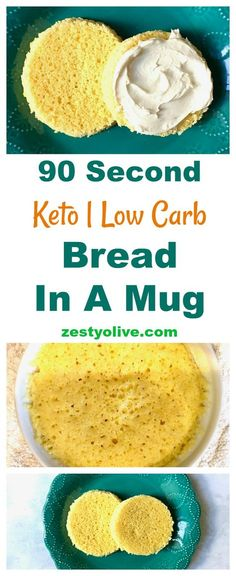 Here's the easiest recipe ever on How To Make Keto, Low Carb, Gluten-Free Bread In A Mug. Not only is this bread healthy and quick to make, but it is easily customizable if you want to season it up with herbs or cheese. Keto Mug Bread, Best Keto Bread, Keto Pancakes, Low Carb Bread, Low Carb Keto, Gluten Free Recipes, Low Carb Recipes, Bread Recipes, Healthy Recipes