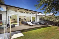 House of the week: Williamstown Weatherboard Exterior, Miami Houses, Inside Plants, Beach Shack, Outdoor Rooms, Indoor Outdoor, House Extensions, Down South, Facade House