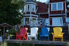 Heja Sverige Gul & Blå Danmark - Sverige  #emfotboll #parneviks #utemöbler #trädgårdsmöbler #gardyes #adirondack