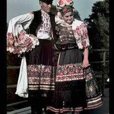 Matyo couple, Hungary, photo by Mihaly Erdodi, via Hungarian Folk Stitch Head, Embroidered Apron, Man Skirt, Chain Stitch Embroidery, Braided Line, Hungarian Embroidery, 20th Century Fashion, Folk Costume, Historical Clothing