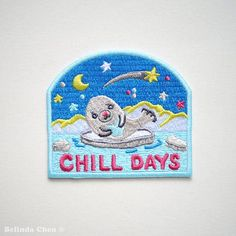Baby Seal Chill Days Iron On Patches by BelsArt on Etsy