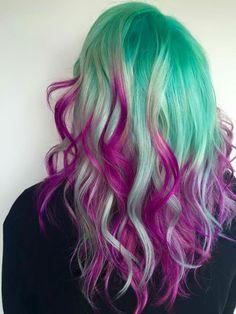 ℒᎧᏤᏋ her platinum green to purple ombré hair!!!! ღ❤ღ