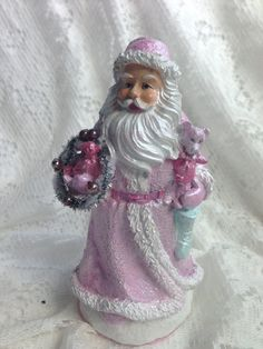 "PInk 7.5"" SANTA Claus St. Nick Resin Shabby Chic Christmas Hand Painted ECS sct schteam SVFTeam"