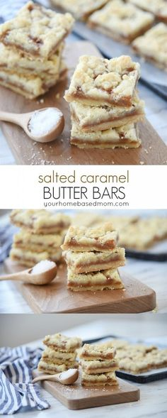 Salted Caramel Butter Bars Recipe - These yummy dessert bars have a rich buttery shortbread crust topped with creamy caramel and sprinkled with salt. Melt in your mouth buttery goodness! SALTED CARAMEL BUTTER BARS RECIPE