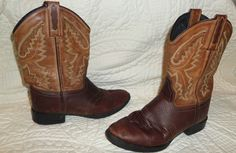 Old West womens  brown LEATHER COWBOY BOOTS short sz 6  #OldWest #CowboyWestern