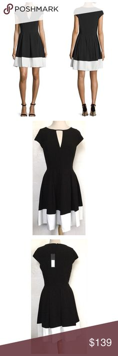 """Halston Heritage Fit and Flare Dress Halston  Heritage black and eggshell fit and flare dress.  90% Polyester 10% Elastane.  Measures about 37"""" from shoulder to hem, 18"""" across the armpits and 16"""" across the waist. Round neckline with a keyhole at the center, hidden back zipper, cap sleeves, lined and pleats that add volume to the skirt.  No trades. Halston Heritage Dresses Mini"""
