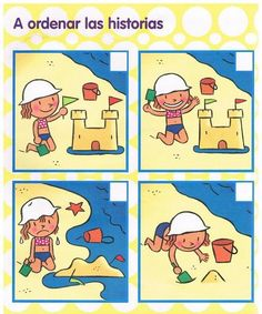 Secuencias temporales | Mírame y aprenderás Sequencing Worksheets, Sequencing Cards, Story Sequencing, Worksheets For Kids, Speech Language Therapy, Speech And Language, Work Activities, Preschool Activities, Sequencing Pictures