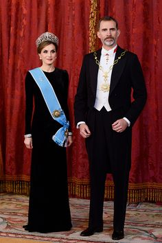 King Felipe VI of Spain and Queen Letizia of Spain receive Argentina's President Mauricio Macri and wife Juliana Awada (not pictured) for an Gala Dinner at the Royal Palace on February 22, 2017 in Madrid, Spain.