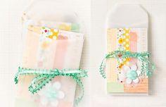 love the patchwork cards and vellum envelopes - Stephanie Dagan
