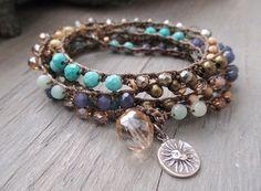 Beachy long crochet 6x wrap bracelet necklace - Palisades - blue tan semi precious stone sterling silver sun surf beach boho by slashKnots