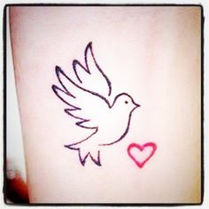 Bird with heart. Love this.