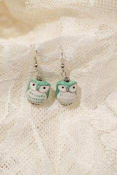 Green Ceramic Owl Earrings