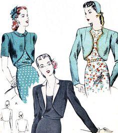 1940s Bolero Pattern Vogue 5075 Womens Long or by paneenjerez, $10.00