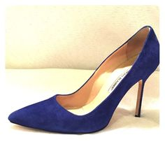 "Manolo Blahnik Cobalt Blue Suede BB Pumps Beautiful cobalt suede pointed toe pumps. Heel height 105mm or 4"". Right show will need the tap replaced soon, other than that they are in great condition. Manolo Blahnik Shoes Heels"