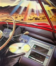 "neontalk: ""First car CD player in the world 💿 Pioneer from Found it in a danish magazine called 'Ny Elektronik'. Futurism Art, 1980s Art, 80s Design, Design Art, Vaporwave Art, Retro Images, Old Computers, Retro Illustration, Airbrush Art"