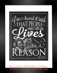 """I've heard it said that people come into our lives for a reason"" - ""For Good"" lyrics from the Broadway musical Wicked - Printable Personalized CUSTOM Photo Wall Art by Jalipeno. It's the perfect, personalized gift for a teacher, professor, dance teacher, coach, bridesmaid, co-worker, best friend, boss, assistant, etc. and for so many occasions - retirement, thank you, moving away, graduation, end of season, etc. Check the shop for lots  more Wicked quotes!"