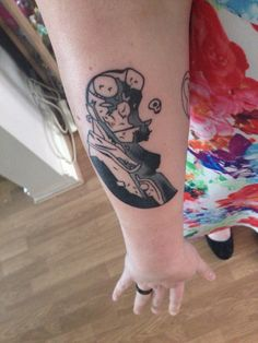 Right Forearm, Hellboy tattoo. This is based on an original sketch done by Hellboy creator Mike Mignola, for the 20th Anniversary.