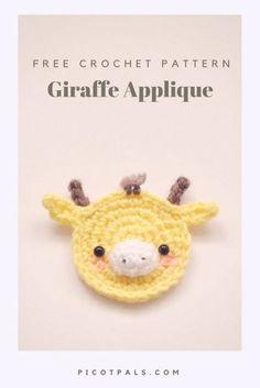 Free giraffe applique crochet pattern by Picot Pals. Giraffes are one of my favorite animals! Read on to find a free crochet pattern for a little giraffe applique. Marque-pages Au Crochet, Crochet Mignon, Crochet Motifs, Crochet Amigurumi, Cute Crochet, Crochet Crafts, Crochet Hooks, Crochet Projects, Crochet Bear