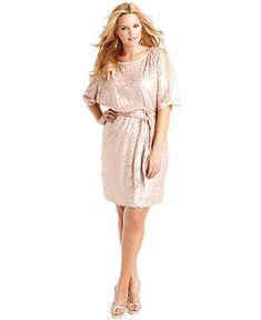 Jessica Simpson Plus Size Dress, Short Split Sleeve Belted Sequin Blouson - Plus Size Dresses - Plus Sizes - Macy's