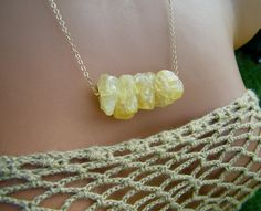 Raw Mexican Butterscotch Yellow Raw Opal nuggets necklace by cuppacoffee, $28.00. One of the designs Urban Outfitters purchased from CuppaCoffee. :)