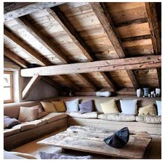 Would love to turn our attick into this! Attic Bedroom Designs, Attic Bedrooms, Cabin Homes, Log Homes, Log Home Decorating, Attic Renovation, Timber House, Cabin Interiors, Attic Spaces
