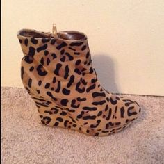 Cheetah Wedges In great condition. No wears or tears. True to size Charlotte Russe Shoes