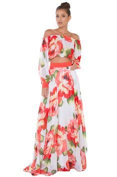 4d93de823a96d Akira Black Label - Garden Of Eden Red White Floral Print Maxi Skirt - Lyst