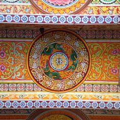 Buddhist temple ceiling in Sri Lanka.