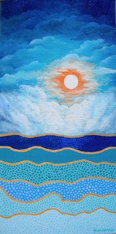 Painting Acrylic Original Moon Over Seas Art by by artbyglorianna - $125