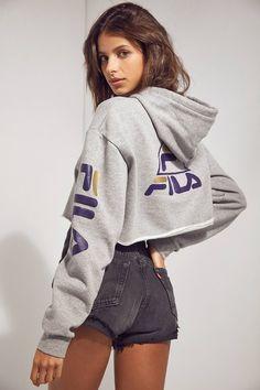 FILA + UO Basketball Cropped Hoodie Sweatshirt | Urban Outfitters | Women's | Tops | Hoodies & Sweatshirts #urbanoutfitterseu #uoeurope