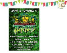 Teenage Mutant Ninja Turtles Invitation TMNT by HDInvitations Ninja Turtle Invitations, Superhero Invitations, Superhero Party, Youre Invited, Teenage Mutant Ninja Turtles, Tmnt