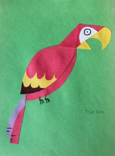 Simple Paper Parrot Kid Art project - Piece different shapes to make animal drawings with paper!