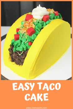 The easiest taco cake! This would be adorable for anyone who loves tacos, or for Cinco de Mayo! The recipe and tutorial are up on Taco Bar, Cupcakes, Cupcake Cakes, Dragons Love Tacos Party, Cake Recipes, Dessert Recipes, Party Food Platters, Recipe From Scratch, Cake Flavors