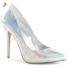 Womens Silver Closed Toe Heels Pointed Toe Pumps Hologram Shoes 5 Inch Heels Size: 9 - Summitfashions pumps for women (*Amazon Partner-Link)