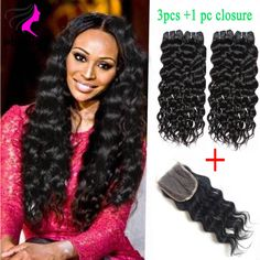 3 bundles brazilian natural wave virgin hair with closure 7a unprocessed virgin hair 100% human hair weave with closure