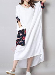 Платья - $57.69 - Повседневное платье из лена длины асимметрично с цветочным принтом с короткыми рукавами (1955113440)
