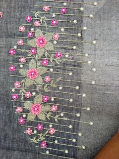 Abstract Embroidery, Hand Embroidery Dress, Hand Embroidery Videos, Hand Embroidery Designs, Aari Embroidery, Black Blouse Designs, Hand Work Blouse Design, Simple Blouse Designs, Blouse Neck Designs