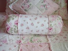 Shabby Pink! Home made bed spread and throw pillows. Very lovely